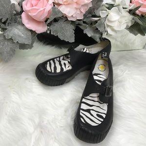 Dr. Martinis Black Zebra Print Mary Jane Shoes 7M